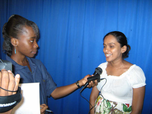 Jannelle interviewing Ms. Eshwari Singh, Region 6 Blood Donor Organiser
